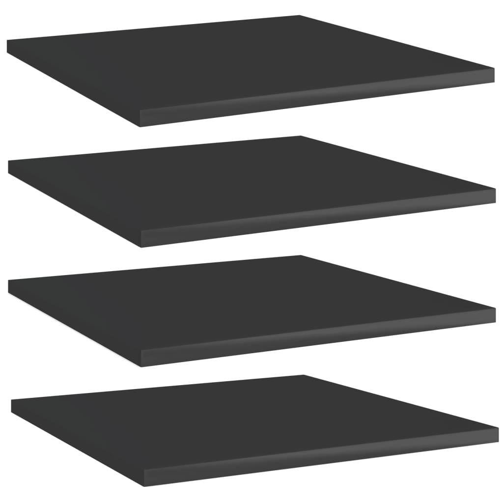 Přídavné police 4 ks černé vysoký lesk 40x40x1,5 cm dřevotříska