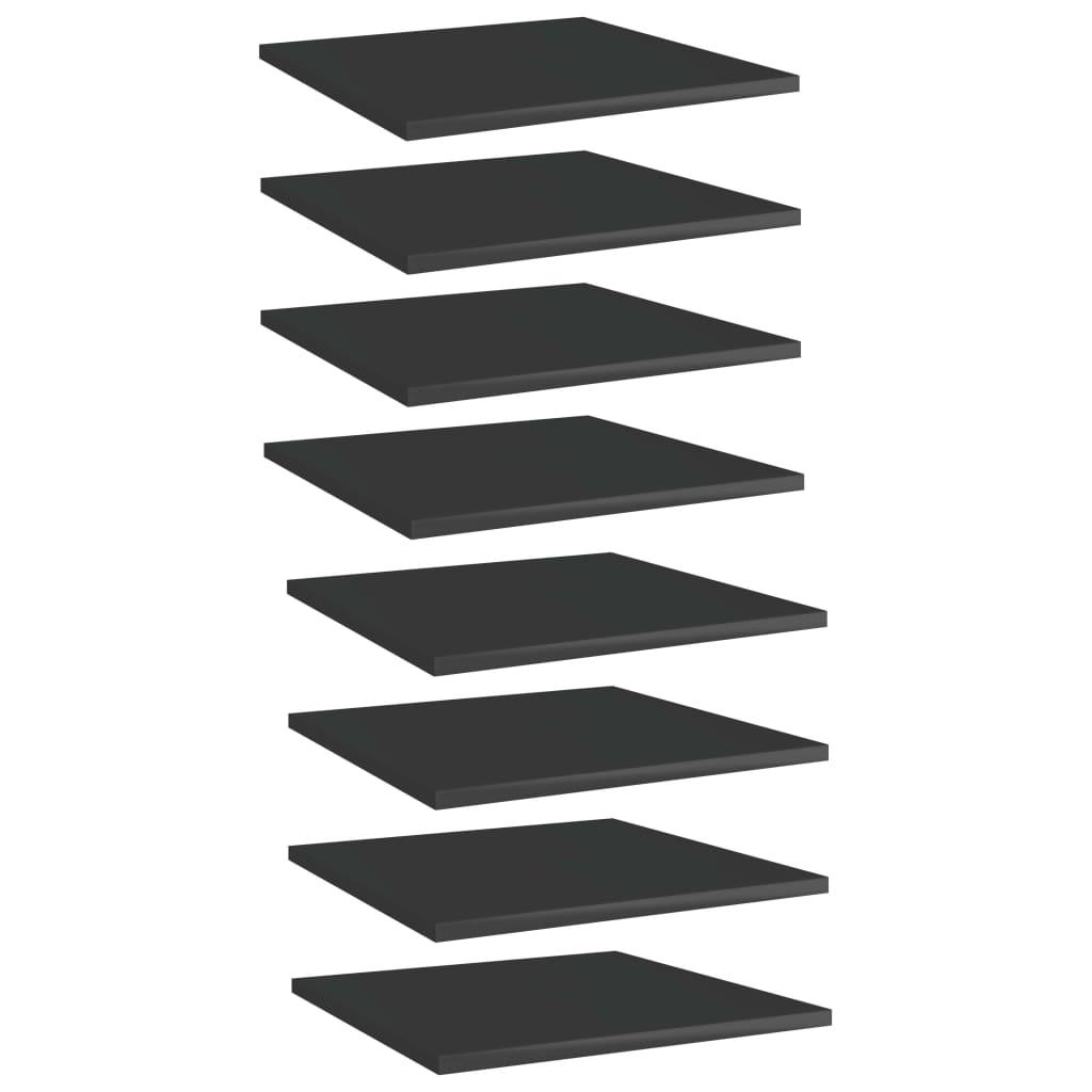 vidaXL Plăci bibliotecă, 8 buc. negru extralucios 40 x 40 x 1,5 cm PAL imagine vidaxl.ro
