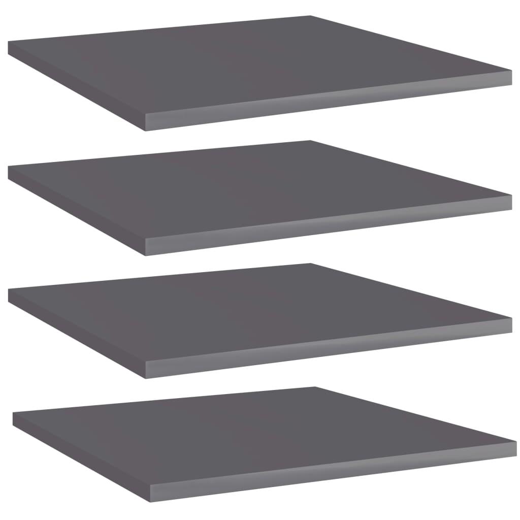 Přídavné police 4 ks šedé vysoký lesk 40x40x1,5 cm dřevotříska