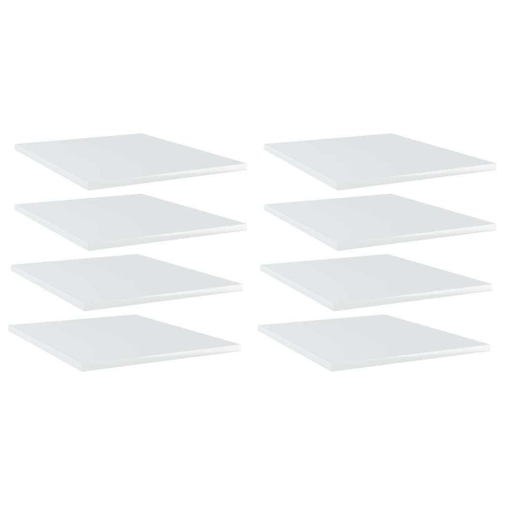 vidaXL Plăci bibliotecă, 8 buc. alb extralucios, 40 x 50 x 1,5 cm, PAL imagine vidaxl.ro