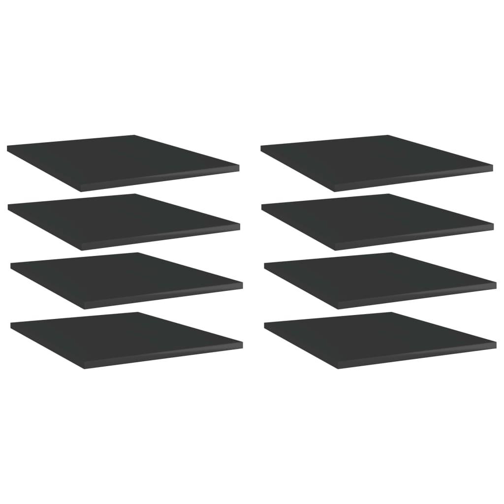 vidaXL Plăci bibliotecă, 8 buc. negru extralucios 40 x 50 x 1,5 cm PAL vidaxl.ro