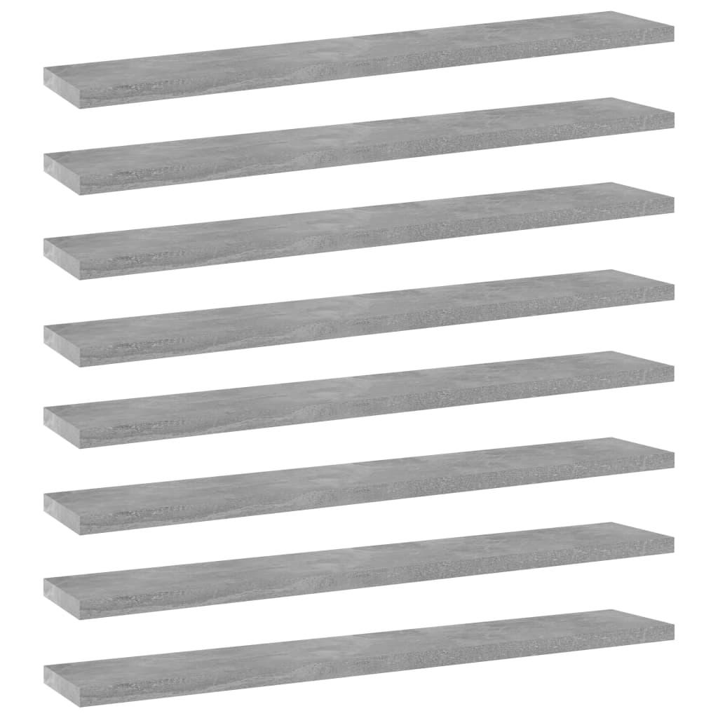 Přídavné police 8 ks betonově šedé 60 x 10 x 1,5 cm dřevotříska