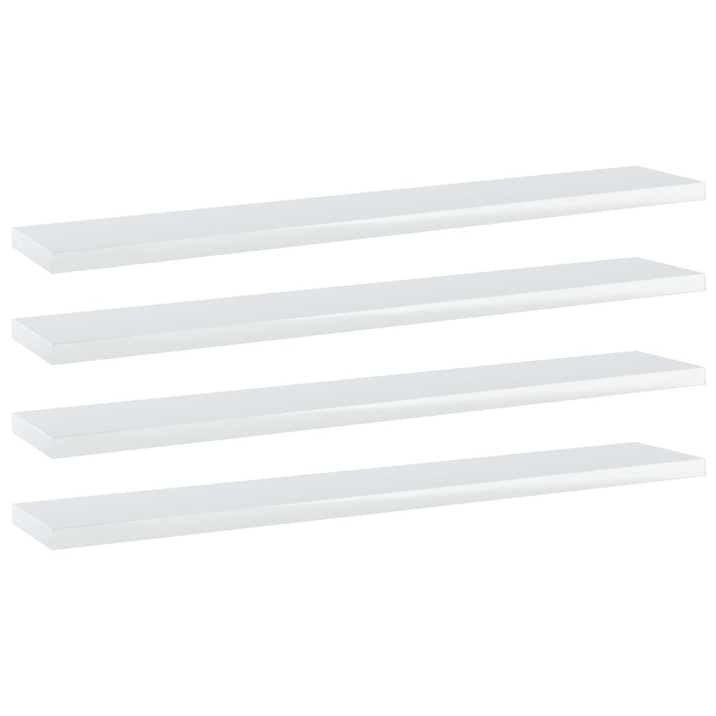 vidaXL Wandschappen 4 st 60x10x1,5 cm spaanplaat hoogglans wit