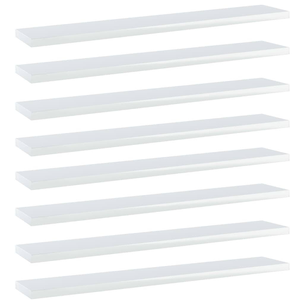 vidaXL Plăci bibliotecă, 8 buc., alb extralucios, 60 x 10 x 1,5 cm PAL poza vidaxl.ro