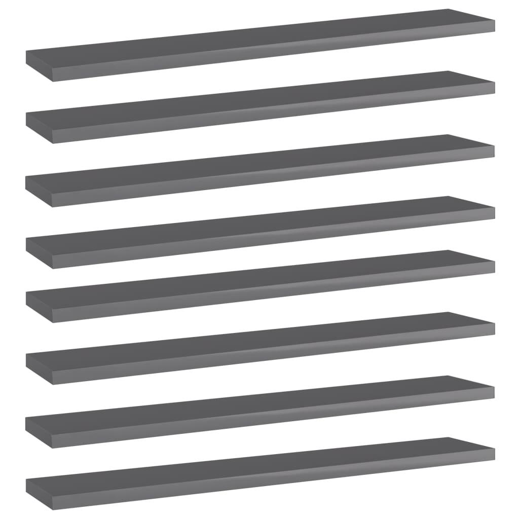 Přídavné police 8 ks šedé vysoký lesk 60x10x1,5 cm dřevotříska