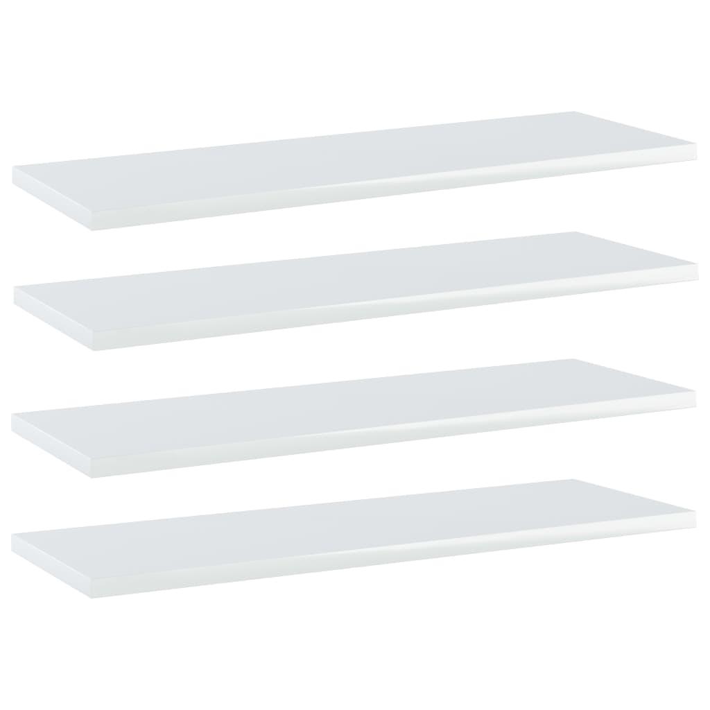 Přídavné police 4 ks bílé vysoký lesk 60x20x1,5 cm dřevotříska