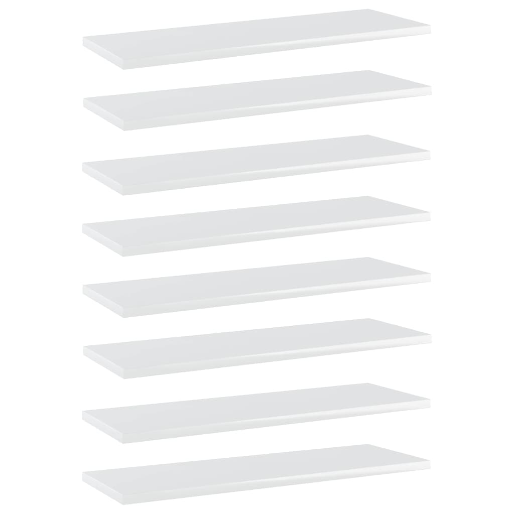 vidaXL Plăci bibliotecă, alb extralucios, 8 buc., 60x20x1,5 cm, PAL imagine vidaxl.ro