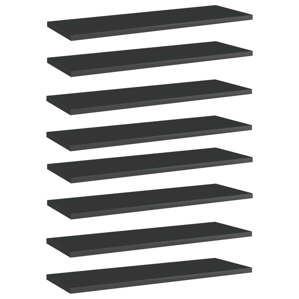 vidaXL Plăci bibliotecă, 8 buc. negru extralucios 60 x 20 x 1,5 cm PAL imagine vidaxl.ro