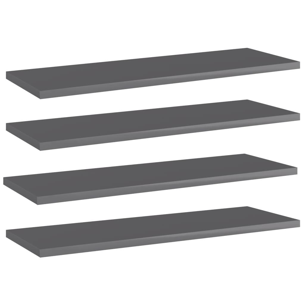 Přídavné police 4 ks šedé vysoký lesk 60x20x1,5 cm dřevotříska