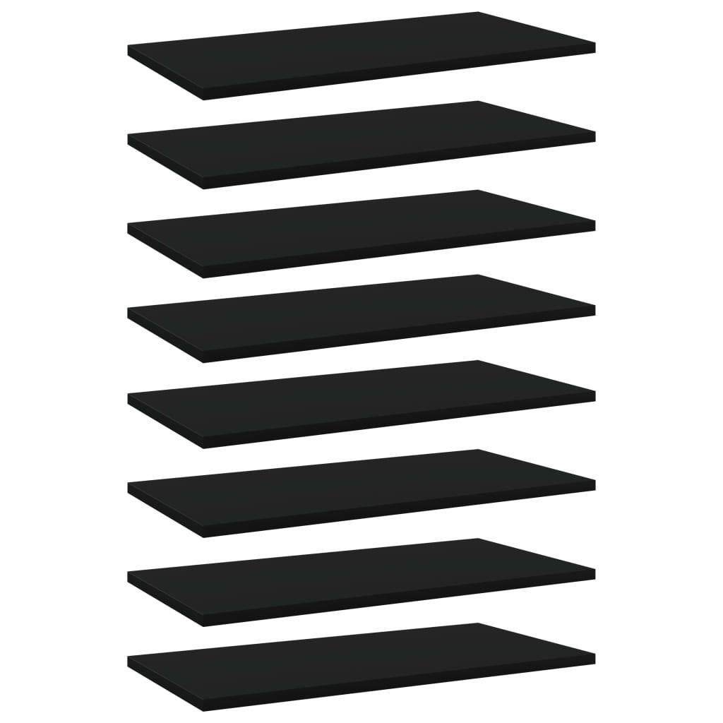 vidaXL Plăci pentru bibliotecă, 8 buc., negru, 60 x 30 x 1,5 cm, PAL imagine vidaxl.ro