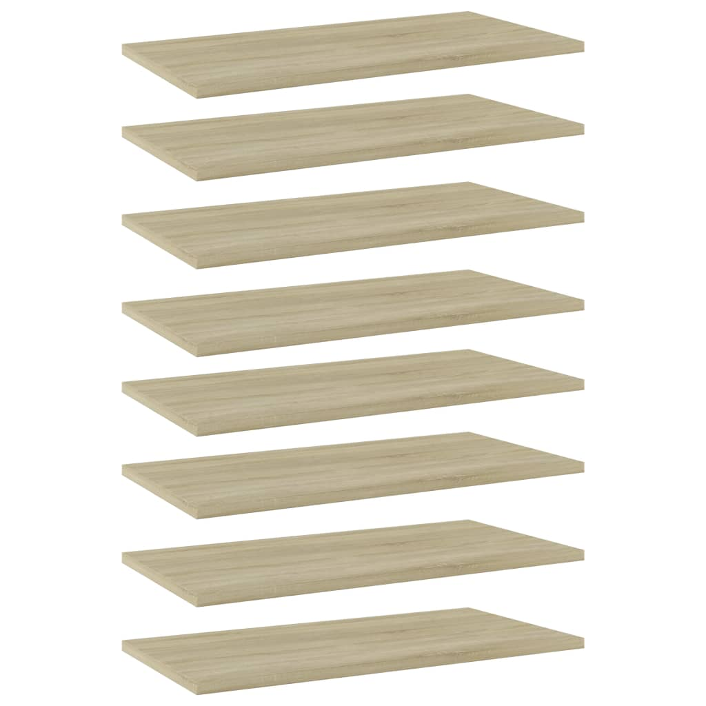 vidaXL Wandschappen 8 st 60x30x1,5 cm spaanplaat sonoma eikenkleurig