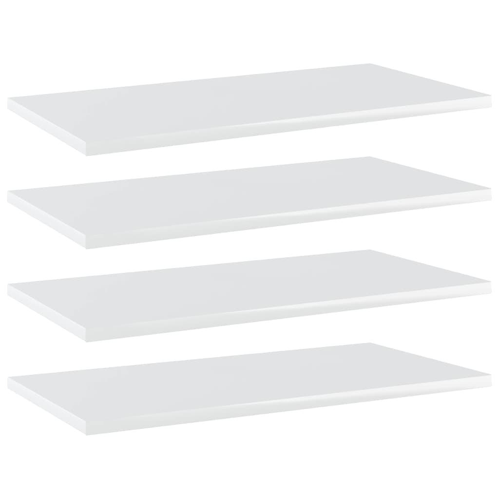 vidaXL Plăci bibliotecă, 4 buc., alb extralucios, 60 x 30 x 1,5 cm PAL poza 2021 vidaXL