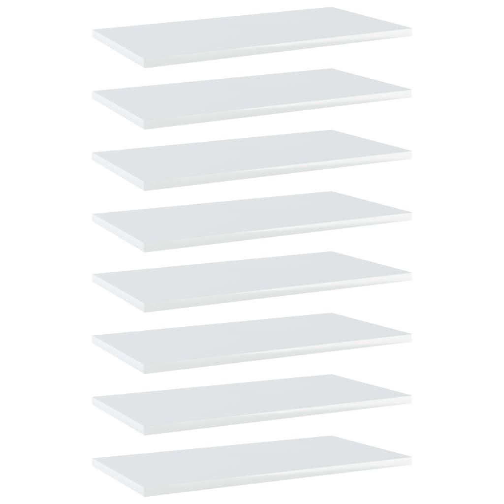 vidaXL Plăci bibliotecă, 8 buc., alb extralucios, 60 x 30 x 1,5 cm PAL imagine vidaxl.ro