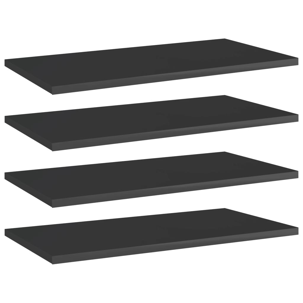 vidaXL Plăci bibliotecă, 4 buc. negru extralucios 60 x 30 x 1,5 cm PAL imagine vidaxl.ro