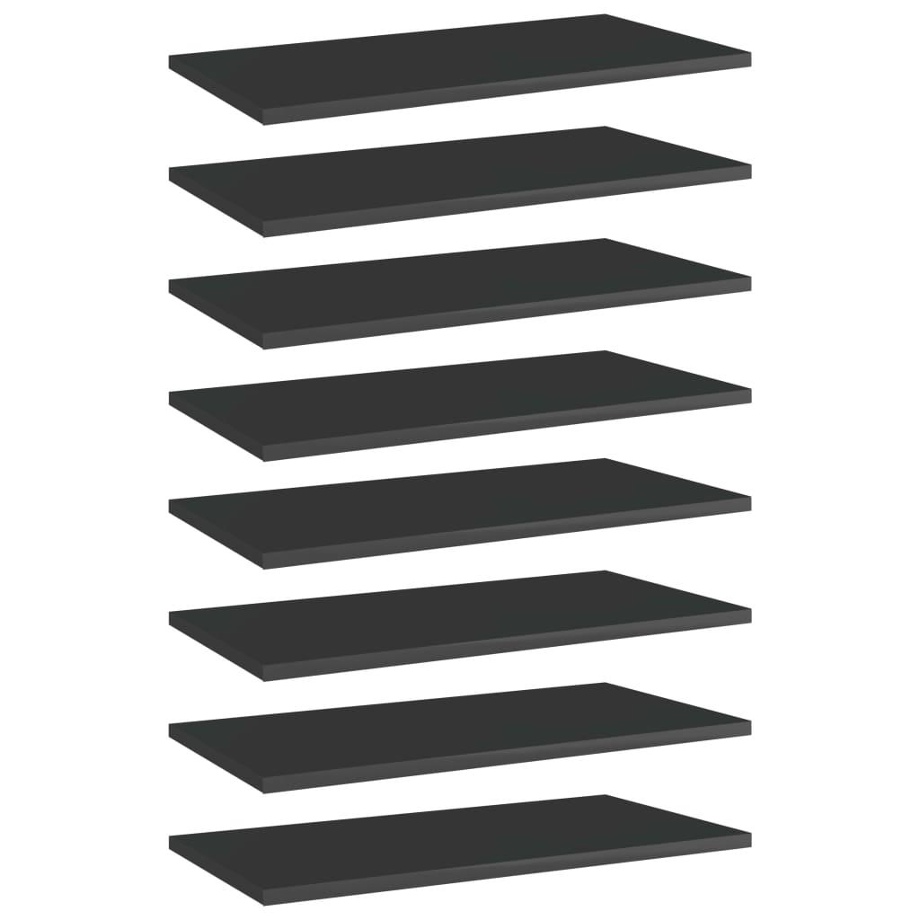vidaXL Plăci bibliotecă, 8 buc. negru extralucios 60 x 30 x 1,5 cm PAL imagine vidaxl.ro