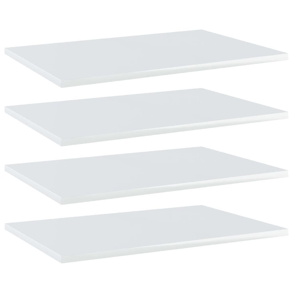 vidaXL Plăci bibliotecă, 4 buc., alb extralucios, 60 x 40 x 1,5 cm PAL poza vidaxl.ro