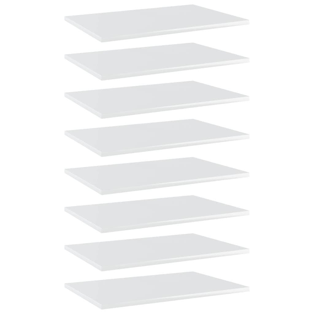 vidaXL Plăci bibliotecă, 8 buc., alb extralucios, 60 x 40 x 1,5 cm PAL imagine vidaxl.ro