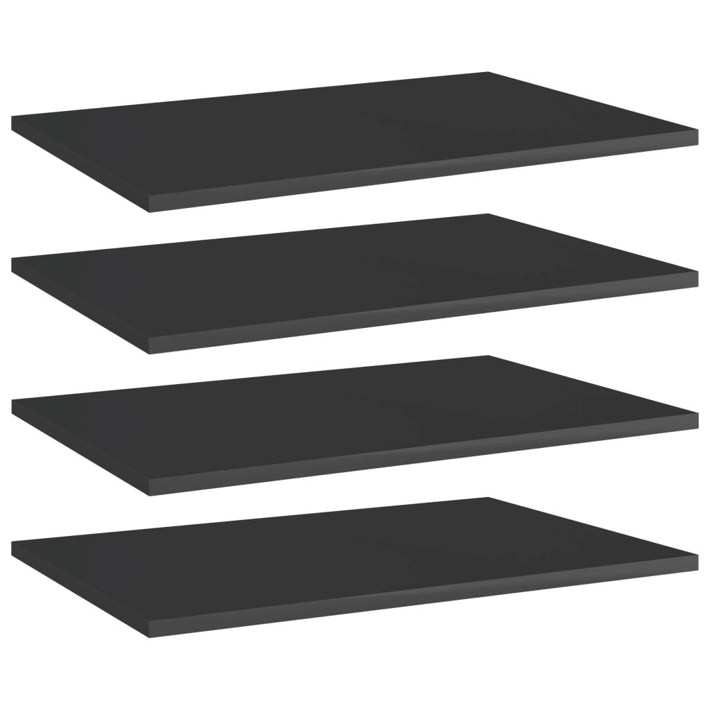vidaXL Plăci bibliotecă, 4 buc. negru extralucios 60 x 40 x 1,5 cm PAL imagine vidaxl.ro