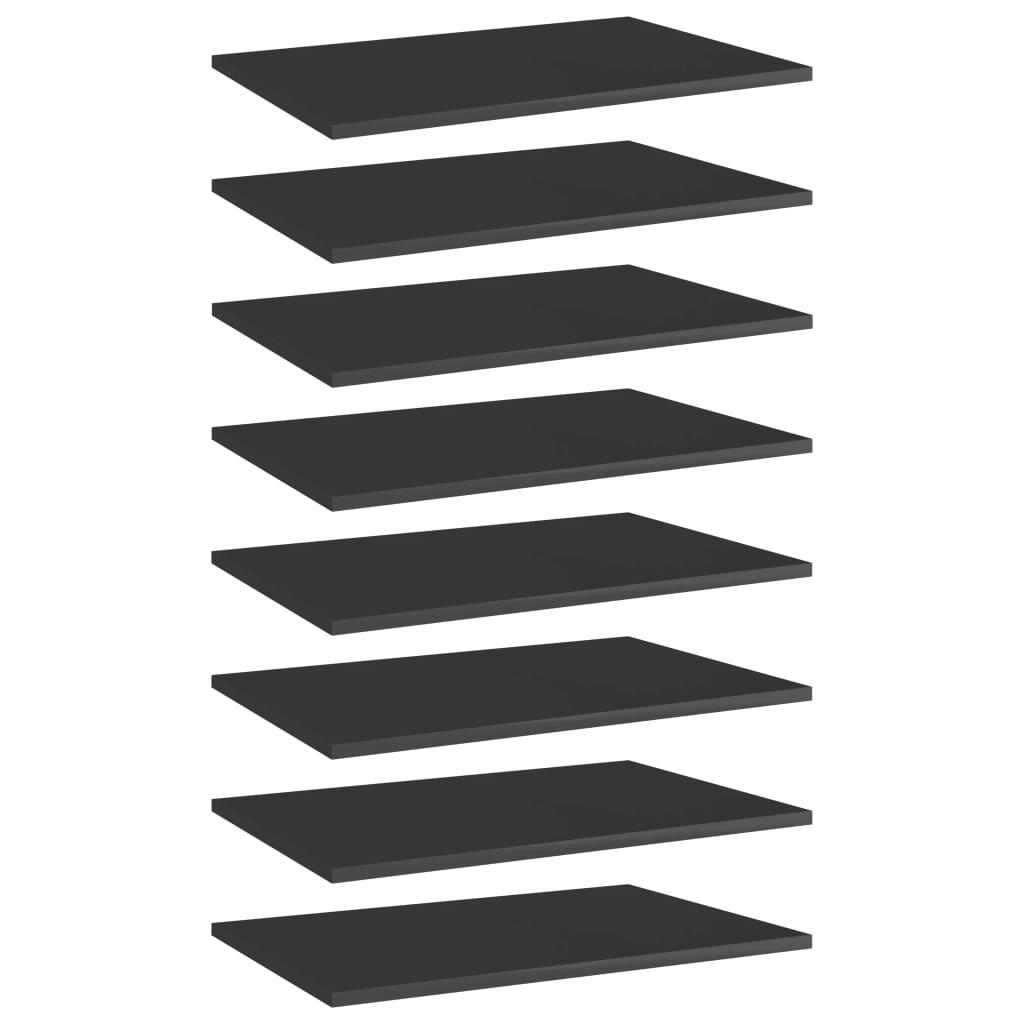 vidaXL Plăci bibliotecă, 8 buc. negru extralucios 60 x 40 x 1,5 cm PAL imagine vidaxl.ro