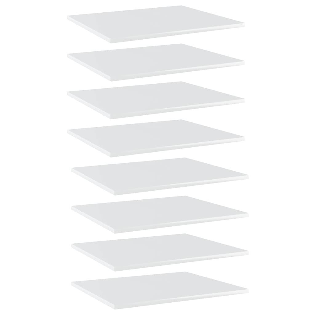 vidaXL Kirjahyllytasot 8 kpl korkeakiilto valk 60x50x1,5 cm lastulevy