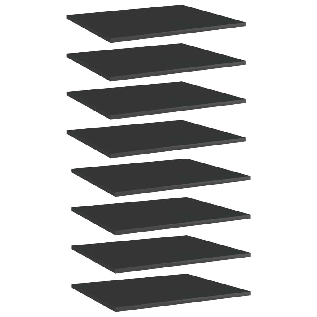vidaXL Plăci bibliotecă, 8 buc. negru extralucios 60 x 50 x 1,5 cm PAL imagine vidaxl.ro