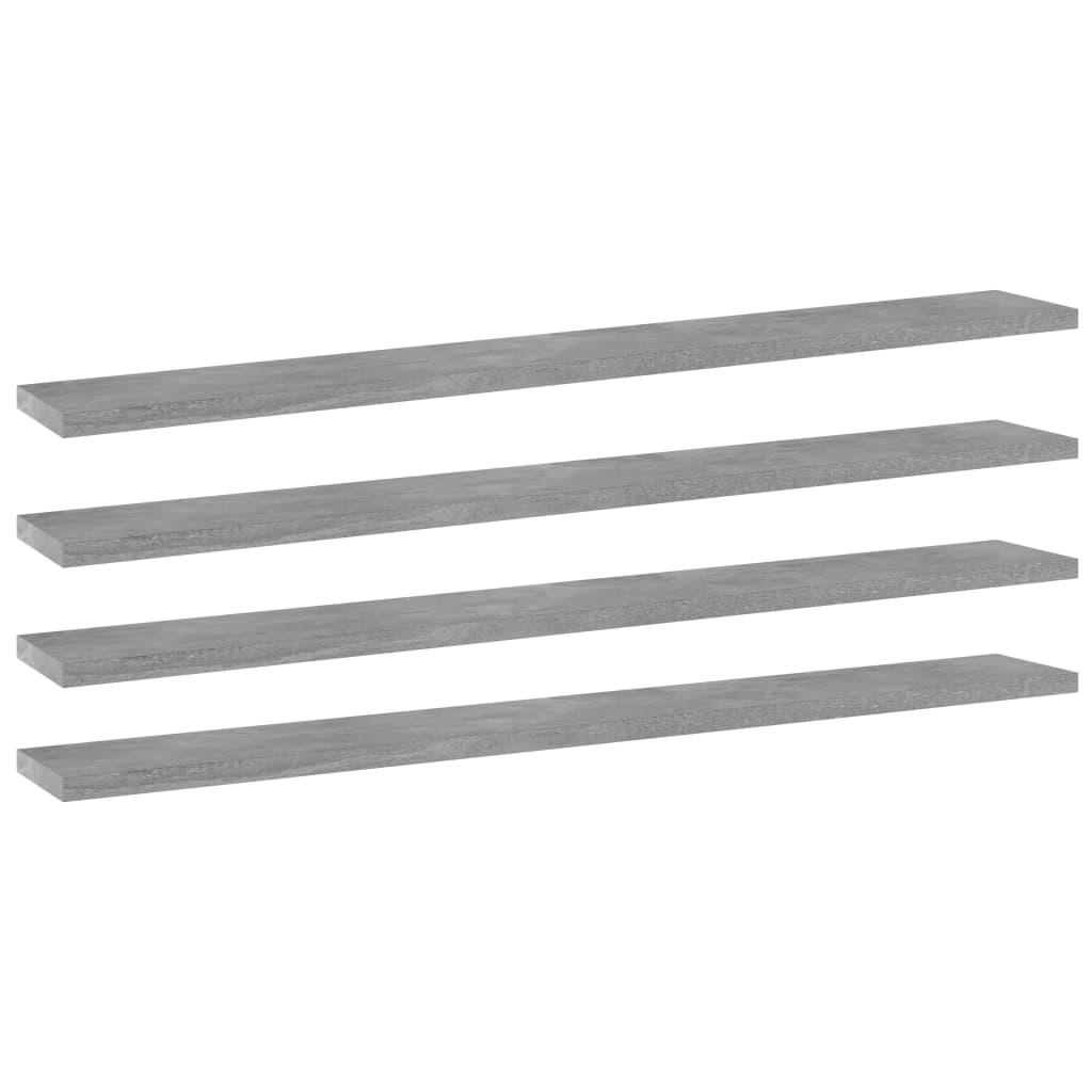 Přídavné police 4 ks betonově šedé 80 x 10 x 1,5 cm dřevotříska