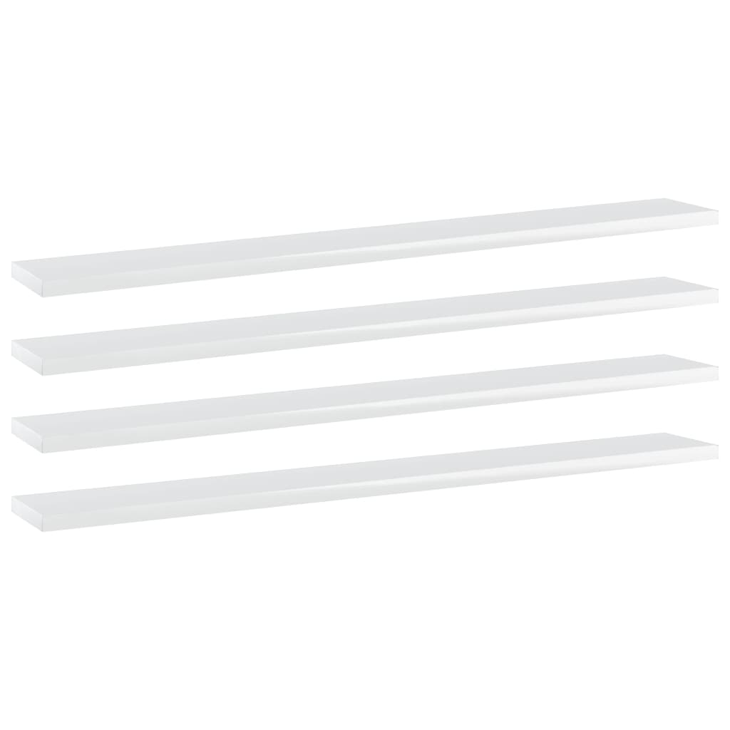 vidaXL Plăci bibliotecă, 4 buc., alb extralucios, 80x10x1,5 cm, PAL imagine vidaxl.ro