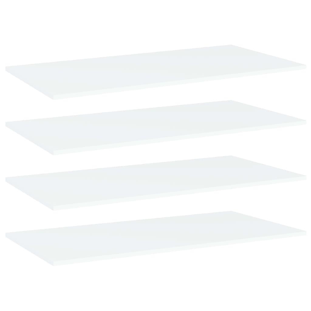Přídavné police 4 ks bílé 80 x 20 x 1,5 cm dřevotříska