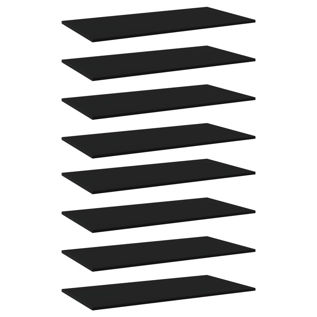 vidaXL Plăci bibliotecă, 8 buc., negru, 80 x 20 x 1,5 cm, PAL imagine vidaxl.ro