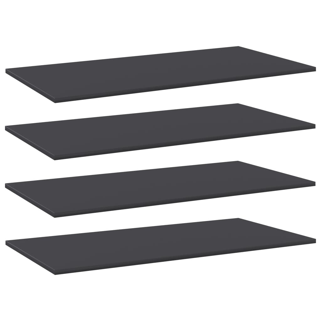 Přídavné police 4 ks šedé 80 x 20 x 1,5 cm dřevotříska