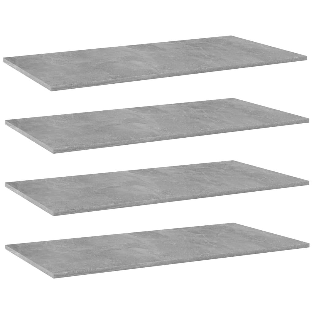 Přídavné police 4 ks betonově šedé 80 x 20 x 1,5 cm dřevotříska
