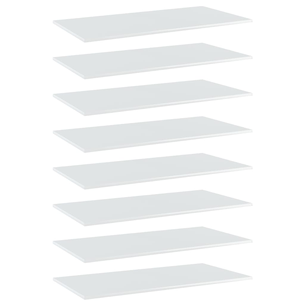 vidaXL Plăci bibliotecă, 8 buc. alb extralucios, 80 x 20 x 1,5 cm PAL imagine vidaxl.ro