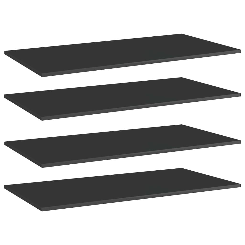 vidaXL Plăci bibliotecă, 4 buc. negru extralucios 80 x 20 x 1,5 cm PAL imagine vidaxl.ro