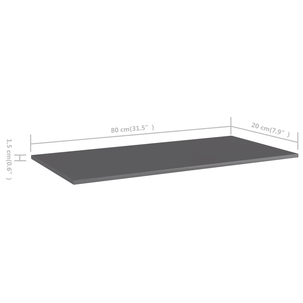 vidaXL Wandschappen 4 st 80x20x1,5 cm spaanplaat hoogglans grijs