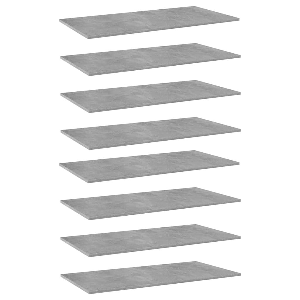 vidaXL Plăci bibliotecă, 8 buc., gri beton, 80 x 30 x 1,5 cm, PAL imagine vidaxl.ro
