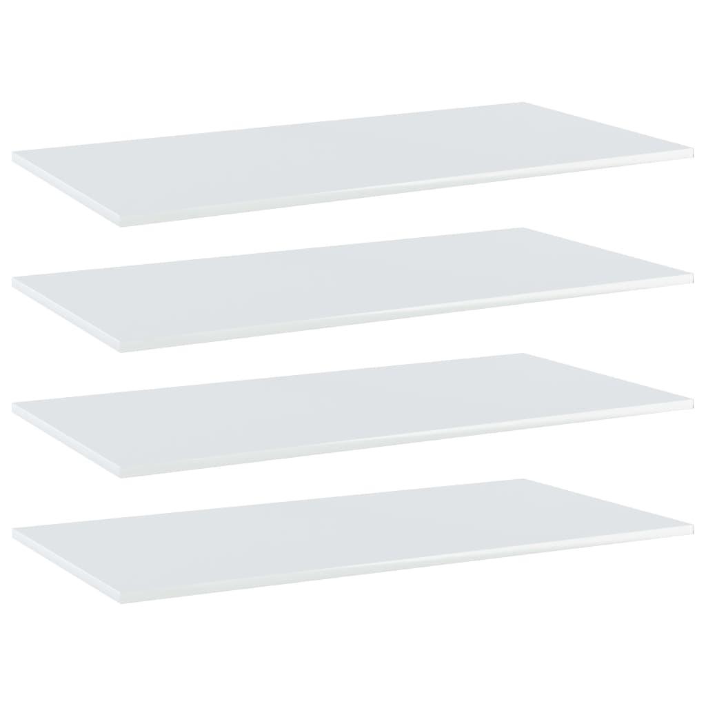 vidaXL Plăci bibliotecă, 4 buc., alb extralucios, 80 x 30 x 1,5 cm PAL poza vidaxl.ro