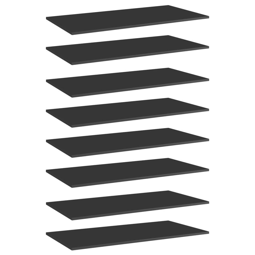 vidaXL Plăci bibliotecă, 8 buc. negru extralucios 80 x 30 x 1,5 cm PAL imagine vidaxl.ro