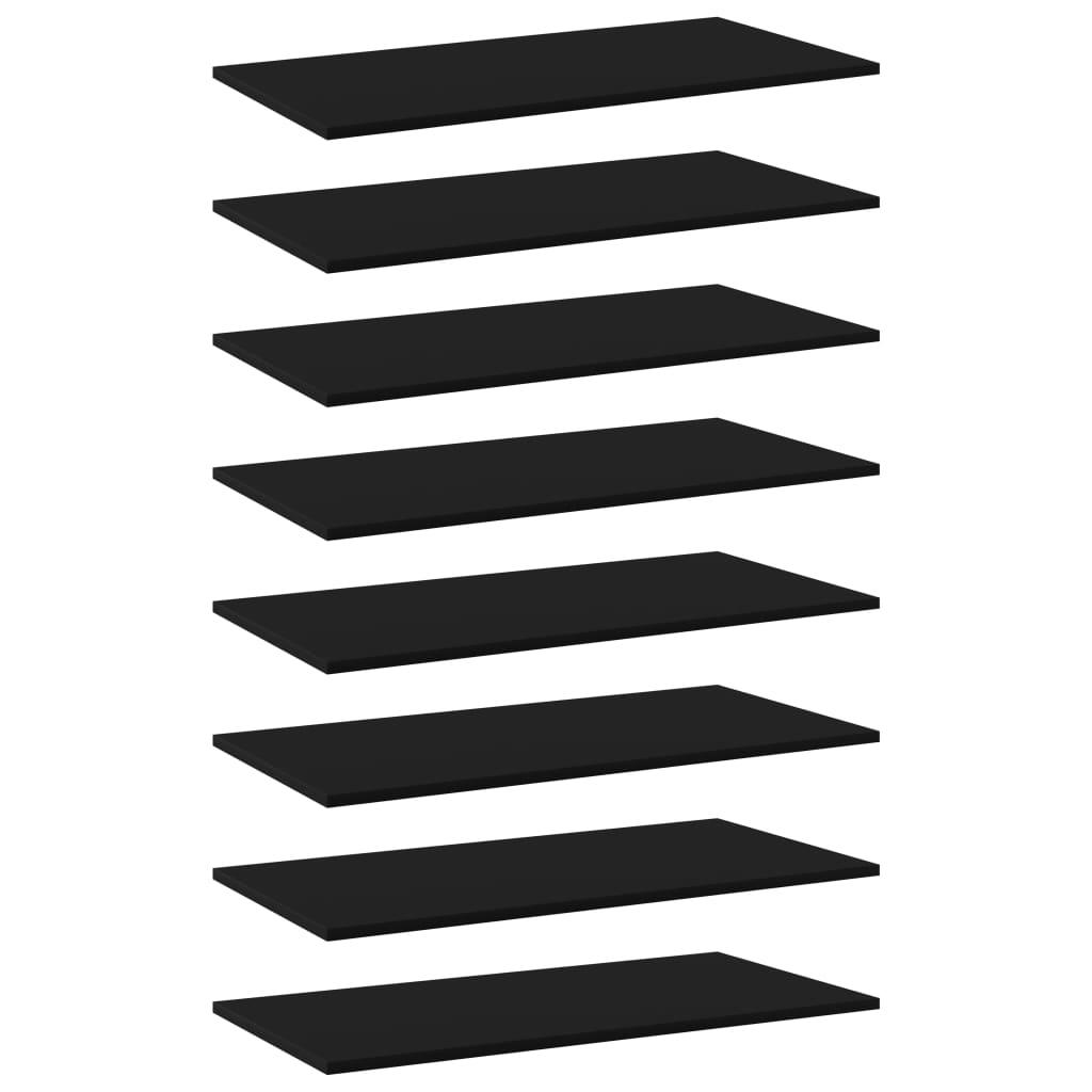 vidaXL Plăci bibliotecă, 8 buc., negru, 80 x 40 x 1,5 cm, PAL vidaxl.ro