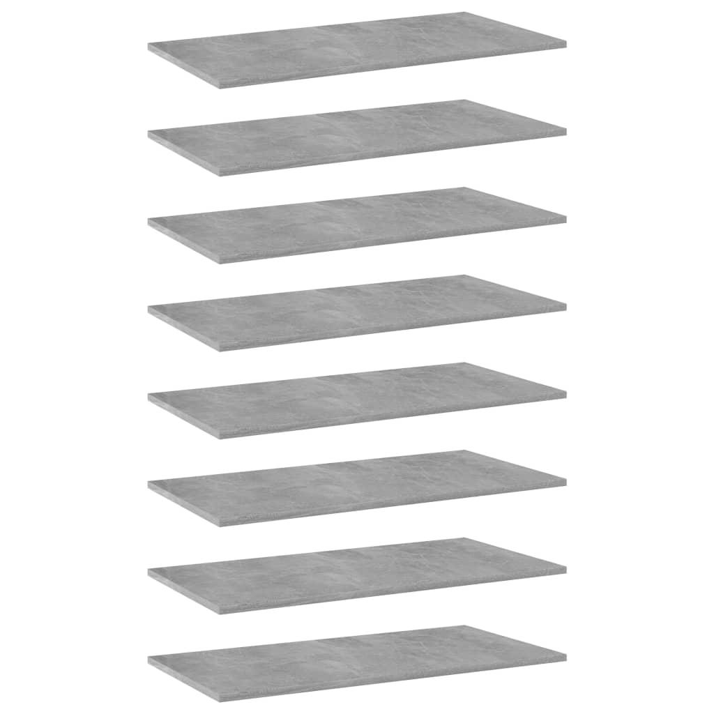 vidaXL Plăci bibliotecă, 8 buc., gri beton, 80 x 40 x 1,5 cm, PAL poza 2021 vidaXL
