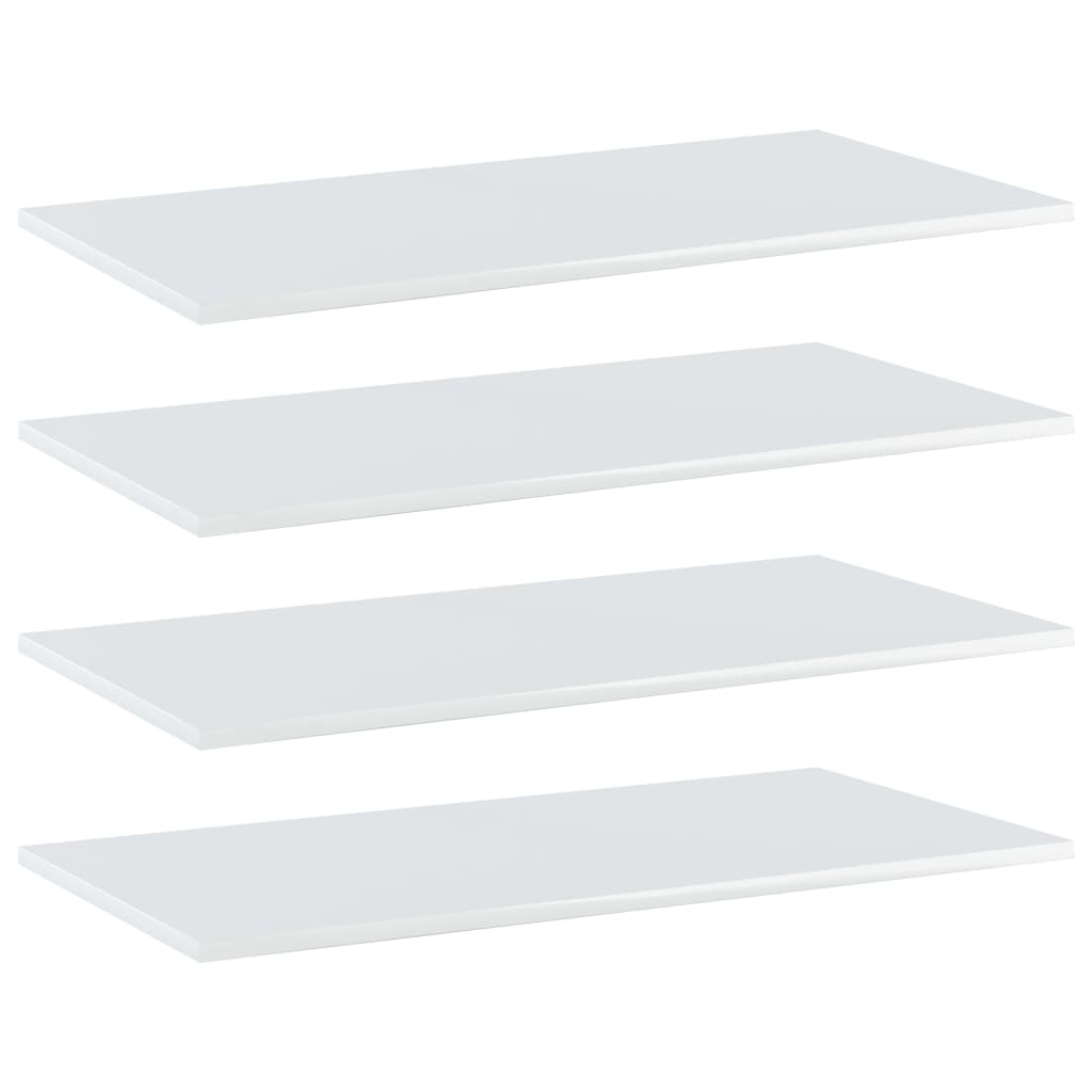 vidaXL Plăci bibliotecă, 4 buc., alb extralucios 80 x 40 x 1,5 cm, PAL imagine vidaxl.ro