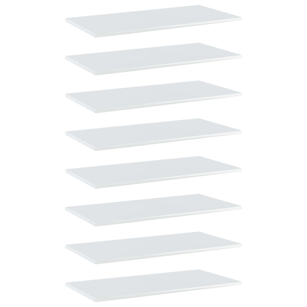 vidaXL Plăci bibliotecă, 8 buc. alb extralucios, 80 x 40 x 1,5 cm, PAL poza vidaxl.ro