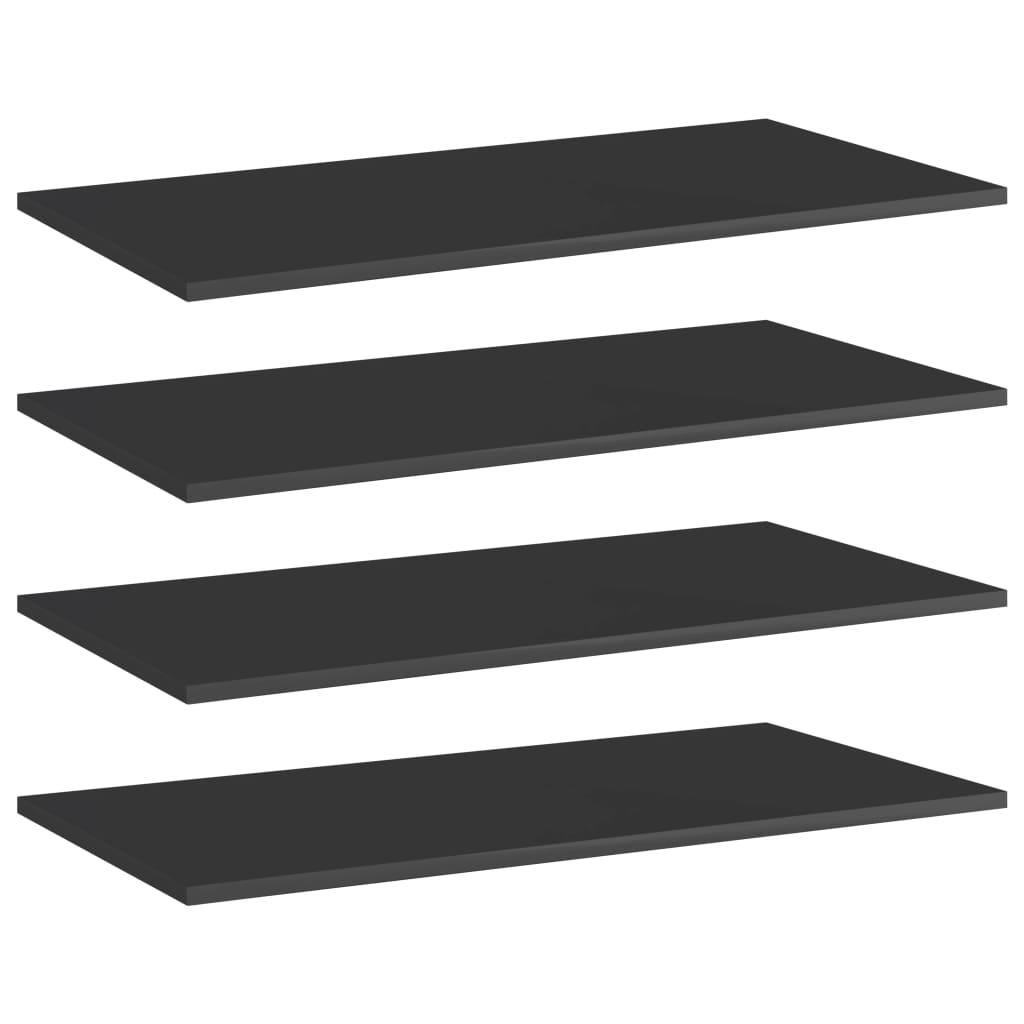 vidaXL Plăci bibliotecă, 4 buc. negru extralucios 80 x 40 x 1,5 cm PAL vidaxl.ro
