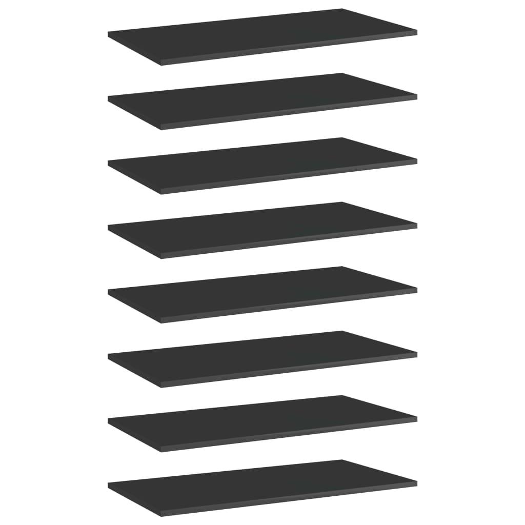 vidaXL Plăci bibliotecă, 8 buc. negru extralucios 80 x 40 x 1,5 cm PAL vidaxl.ro