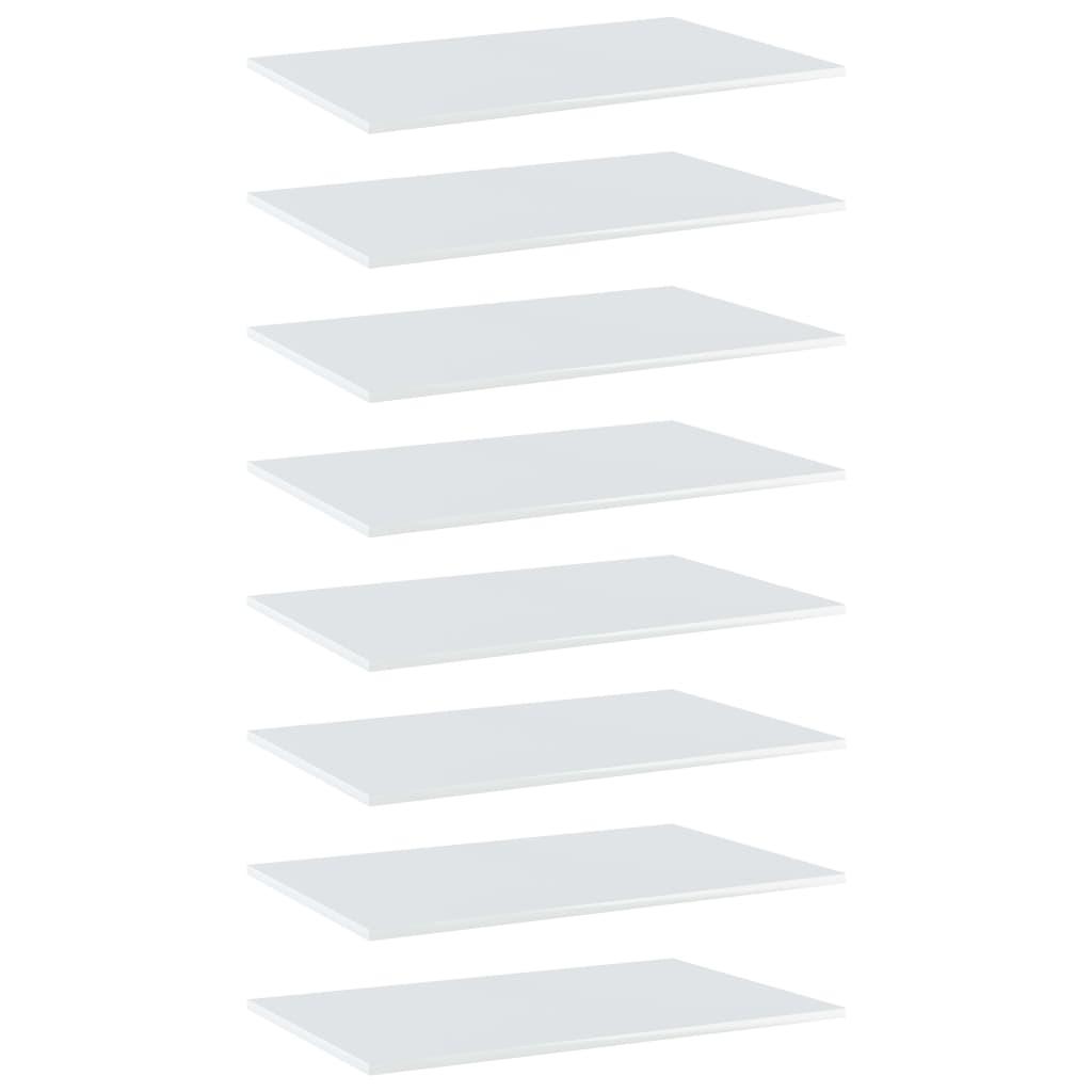 vidaXL boghylder 8 stk. 80x50x1,5 cm spånplade hvid højglans