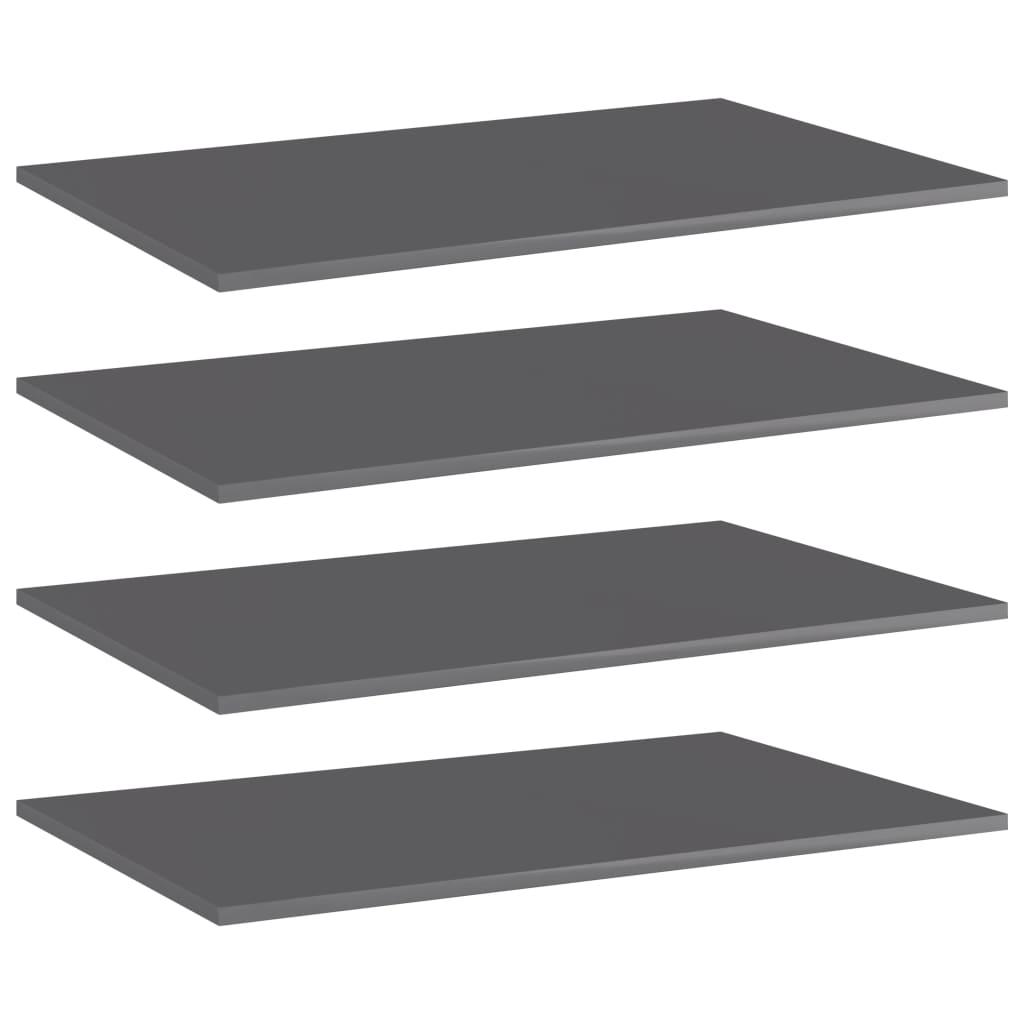 vidaXL Wandschappen 4 st 80x50x1,5 cm spaanplaat hoogglans grijs