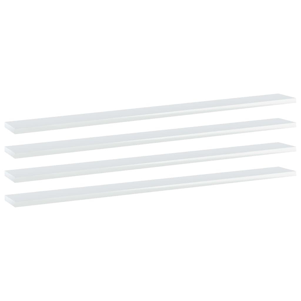 vidaXL Plăci bibliotecă, 4 buc. alb extralucios, 100 x 10 x 1,5 cm PAL poza vidaxl.ro