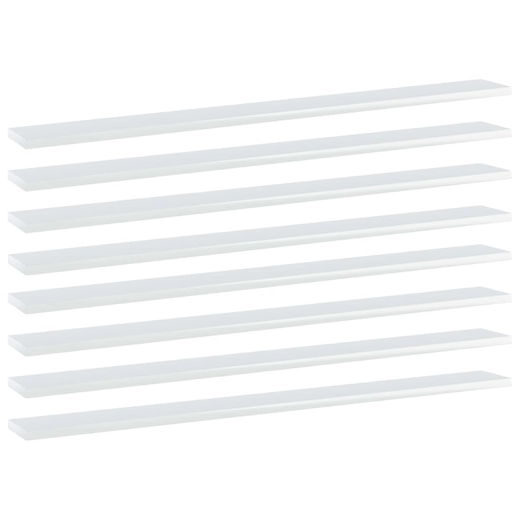 vidaXL Plăci bibliotecă, 8 buc. alb extralucios, 100 x 10 x 1,5 cm PAL imagine vidaxl.ro
