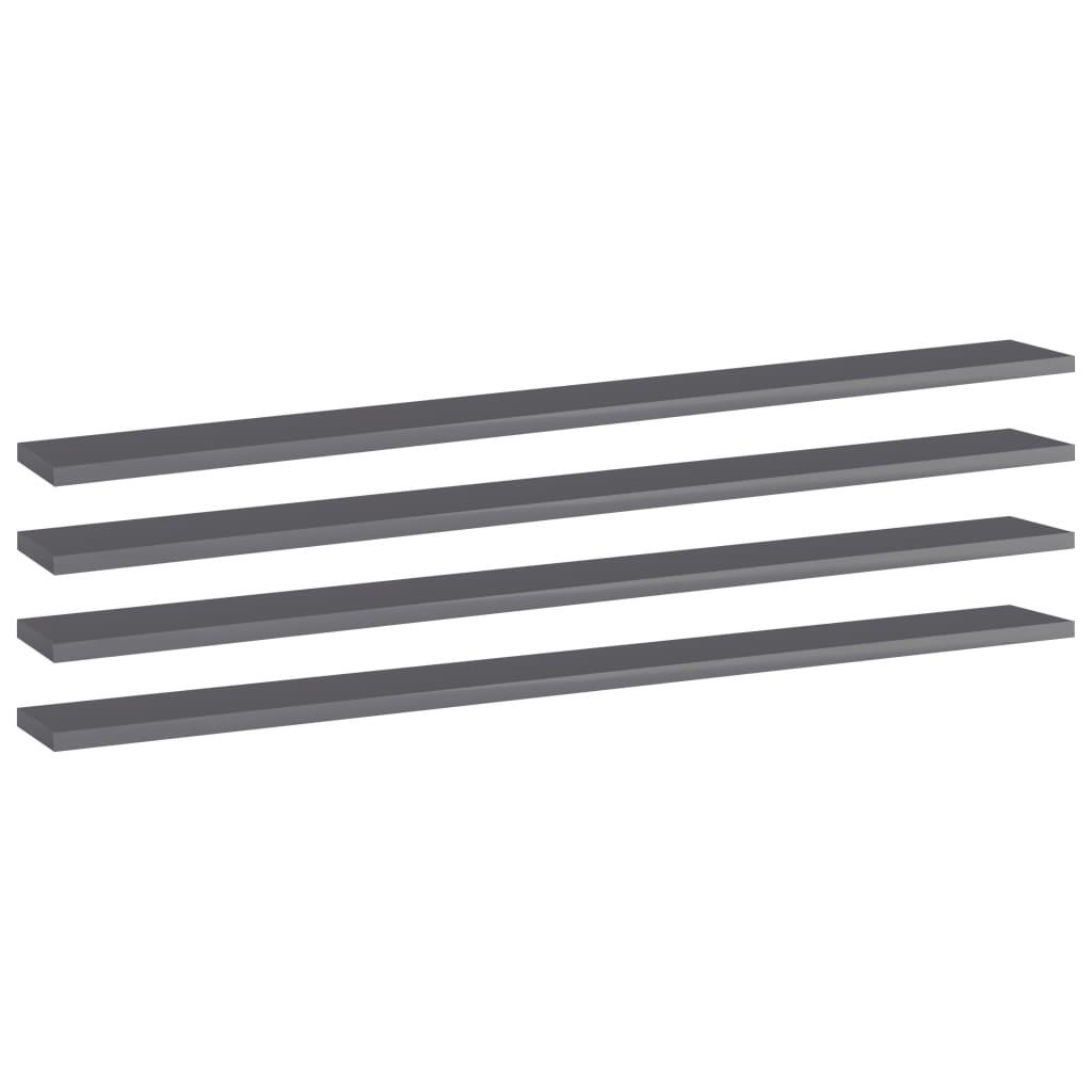 vidaXL Wandschappen 4 st 100x10x1,5 cm spaanplaat hoogglans grijs