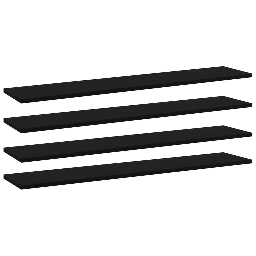 vidaXL Plăci bibliotecă, 4 buc., negru, 100 x 20 x 1,5 cm, PAL poza vidaxl.ro