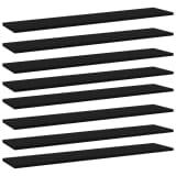 vidaXL Panneaux de bibliothèque 8 pcs Noir 100x20x1,5 cm Aggloméré